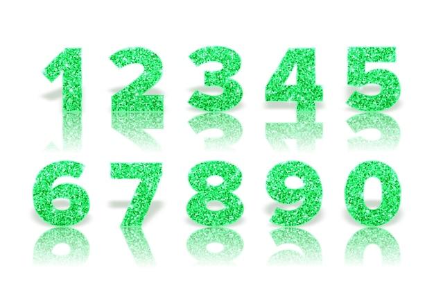 Números verdes cintilantes com reflexo e sombra