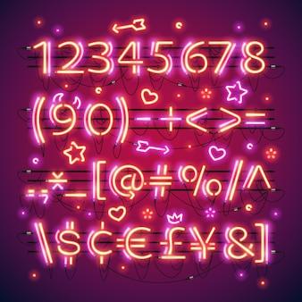 Números vermelhos de néon duplo brilhante