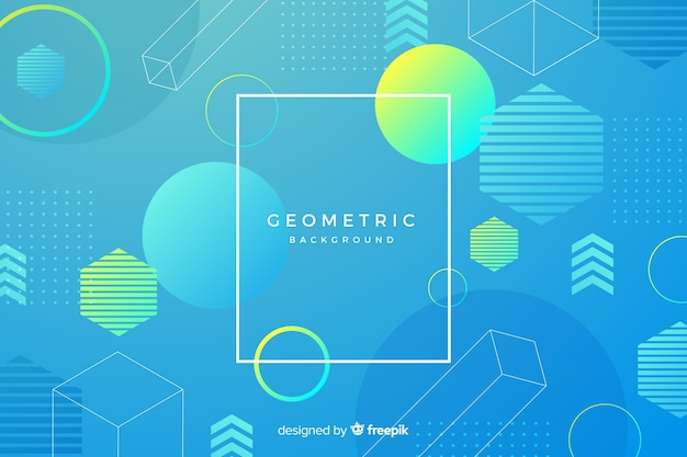Numerosa mistura de formas geométricas gradientes