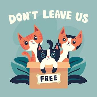 Nunca deixe seu animal de estimação para trás ilustração com gatos