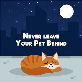Nunca deixe seu animal de estimação para trás ilustração do conceito com gato