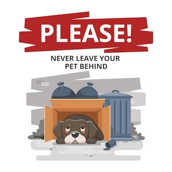 Nunca deixe seu animal de estimação para trás triste ilustração
