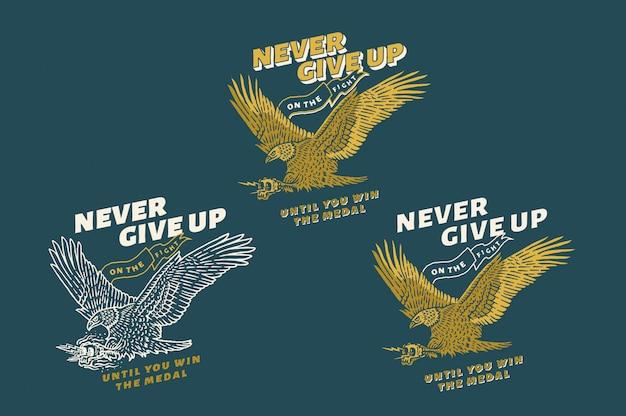 Nunca desista da luta até ganhar a medalha texto, cor e contorno totalmente editáveis com três estilos diferentes