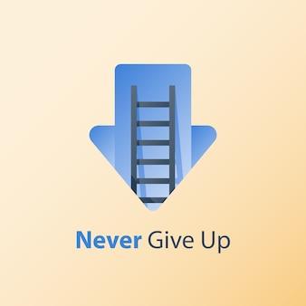 Nunca desista de conceito, mentalidade de crescimento, ideia de motivação, pensamento positivo, escada para o sucesso, alvorecer da flecha, objetivo da busca, superar obstáculo, condições difíceis, crise profunda