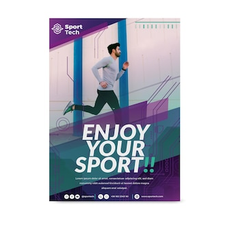 Nunca desista de modelo de folheto de esporte