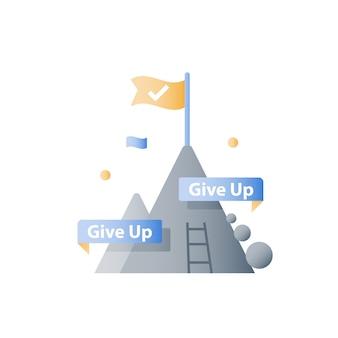 Nunca desista do conceito, topo da montanha, alcance objetivo mais elevado, alcance do desafio, próximo nível de etapa, longo caminho para o sucesso, pensamento positivo, mentalidade de crescimento, superação de obstáculo, progresso constante