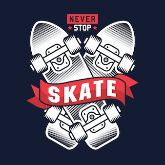 Nunca pare de skate com ilustração de skate