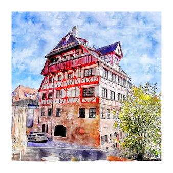 Nurnberg durerhaus alemanha esboço em aquarela desenhado à mão