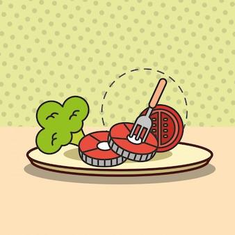 Nutrição alimentar peixe tomate e brócolis com garfo