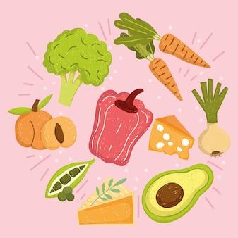 Nutrição de alimentos saudáveis, abacate, pimenta, cenouras, pêssego, cebola, ervilhas, brócolis, ilustração