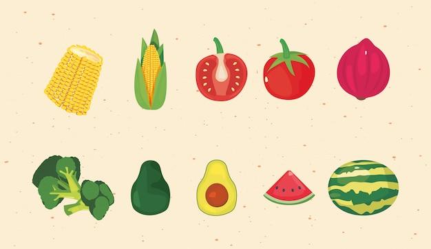 Nutrição de frutas e vegetais frescos