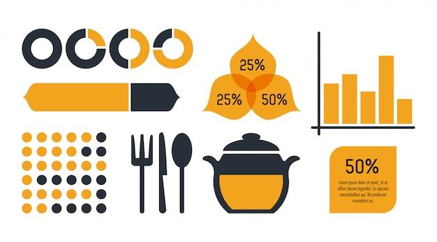 Nutrição e comida infográfico ícones estatísticas e elementos