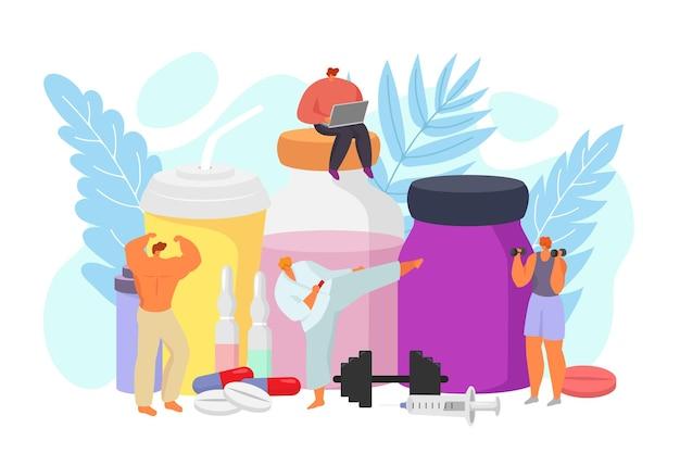 Nutrição esportiva com ilustração de dieta de medicamentos e estilo de vida