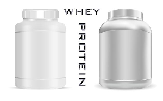 Nutrição esportiva pode. garrafa de proteína.