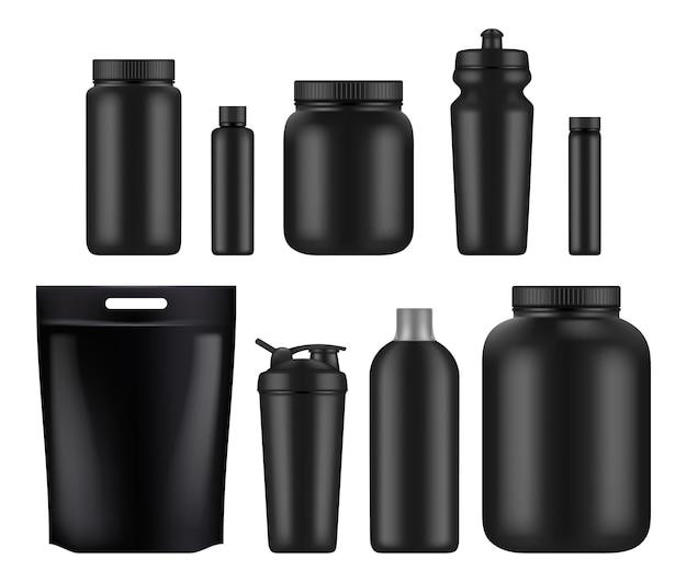 Nutrição esportiva. pote de plástico de soro de leite e garrafas de alimentos energéticos para ginástica de suplementos