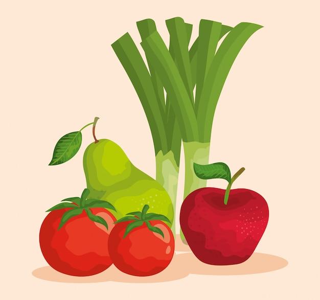 Nutrição saudável de vegetais e frutas frescas