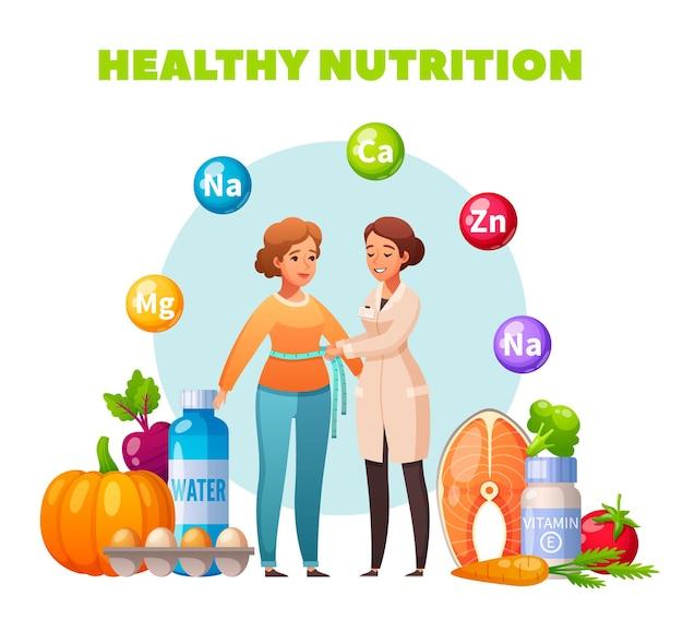 Nutrição saudável recomendação de nutricionista composição plana com controle de índice de massa corporal suplementos de ovos de salmão de vegetais