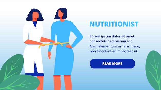 Nutricionista no casaco branco e paciente no vestido.
