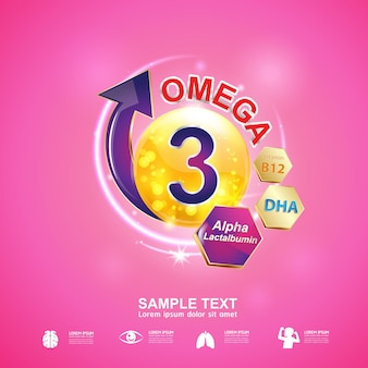 Nutrition omega 3 and vitamin concept logo products for kids