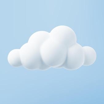 Nuvem 3d branca isolada em um fundo azul. processa o ícone da nuvem fofa dos desenhos animados redondos macios no céu azul. ilustração em vetor forma geométrica 3d.