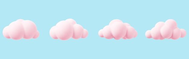 Nuvem 3d rosa isolada em um fundo azul renderização do ícone da nuvem mágica do pôr do sol no céu azul