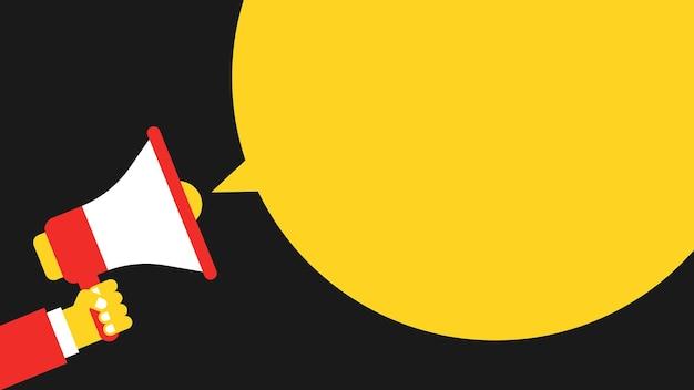 Nuvem amarela para texto e mão segura o megafone. informações básicas conceituais. ilustração vetorial