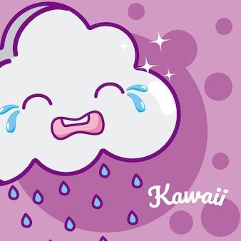 Nuvem, chorando, cute, kawaii, caricatura