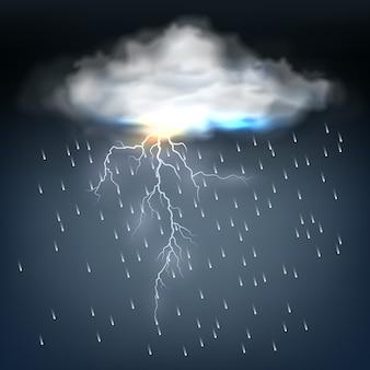 Nuvem com chuva e um raio em uma descarga de energia elétrica durante uma tempestade em um céu escuro e ameaçador.