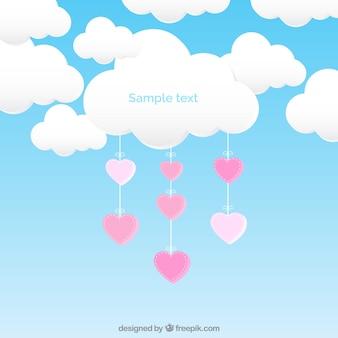 Nuvem com corações de suspensão