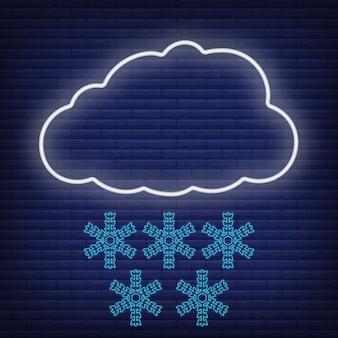 Nuvem com vento, neve, ícone de floco de neve brilhar estilo néon, conceito de condição de tempo delinear ilustração vetorial plana, isolada no preto. fundo de tijolo, material de rótulo de clima da web.