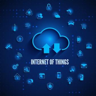 Nuvem da internet das coisas e outros ícones iot concept