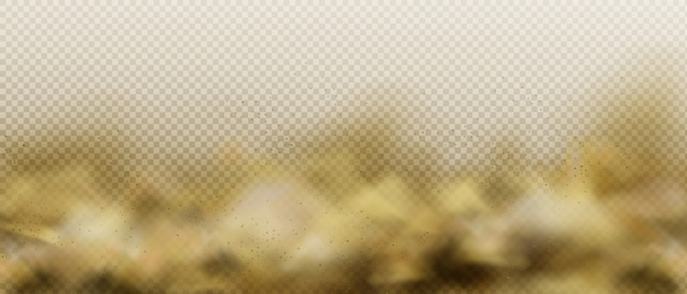Nuvem de areia empoeirada, fumaça marrom da poluição do ar ou fumaça