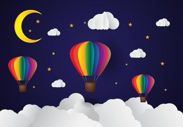 Nuvem de balão de ar estilo arte em papel