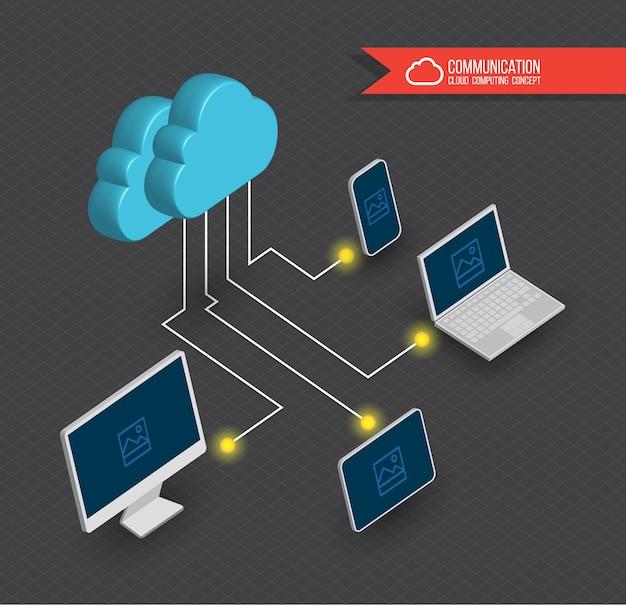 Nuvem de computação em nuvem estilo 3d. ilustração vetorial.