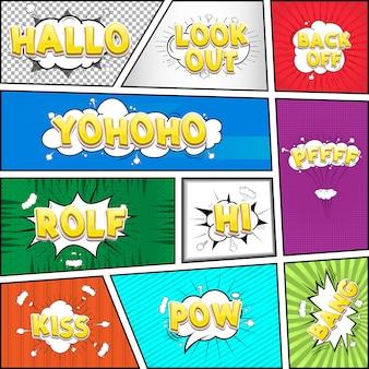 Nuvem de diálogo em quadrinhos, coleção pop-art de texto