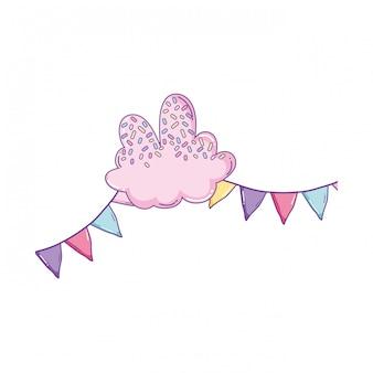 Nuvem de doces e bandeirolas