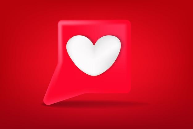 Nuvem de fala vermelha fofa com mídia de sinal de amor