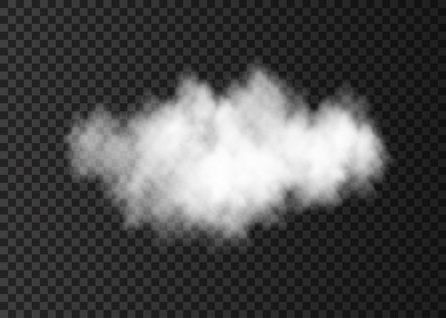 Nuvem de fumaça branca transparente isolada no escuro