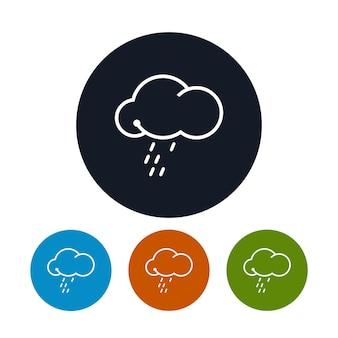 Nuvem de ícone com a chuva, os quatro tipos de chuvas de ícones redondos coloridos, símbolo do tempo, ilustração vetorial