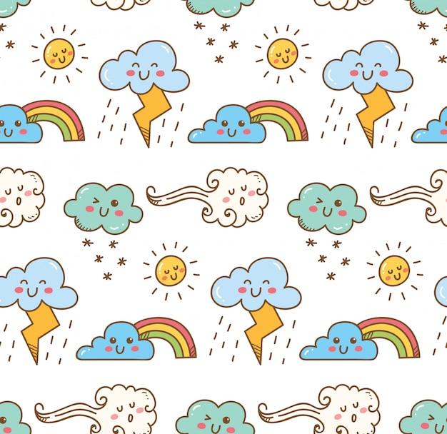 Nuvem de kawaii sem costura para impressão de tecido