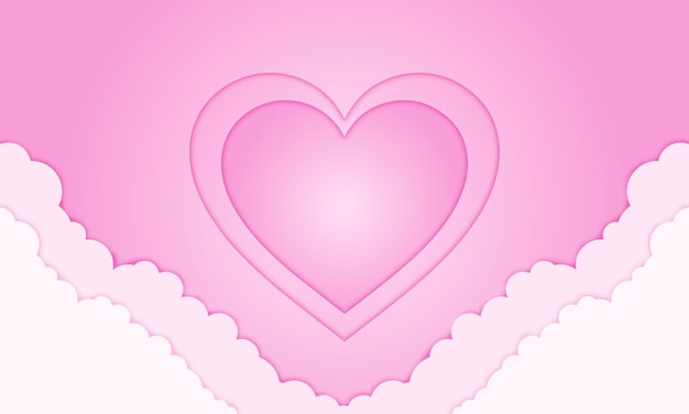 Nuvem de mão de coração rosa em estilo de jornal para o dia dos namorados. design de negócios para cartazes, banners.