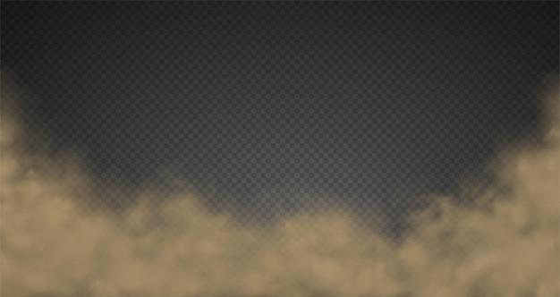Nuvem de névoa de fumaça, poeira da estrada, poluição urbana. efeito transparente isolado de nebulosidade de tempestade de areia.