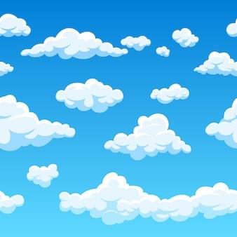 Nuvem de padrão sem emenda e ilustração de céu azul