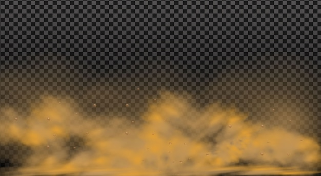 Nuvem de poeira com partículas com partículas de sujeira, fumaça de cigarro, poluição atmosférica, solo e areia.
