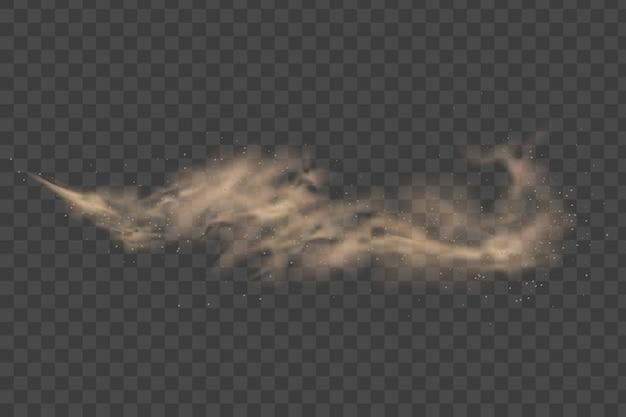 Nuvem de poeira isolada em fundo transparente. tempestade de areia. vento do deserto com nuvem de poeira e areia.