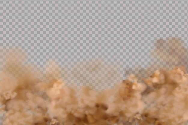 Nuvem de poeira ou areia seca voando, fumaça, poluição atmosférica, partículas de solo e areia.