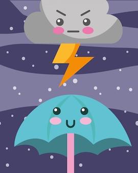 Nuvem de trovão kawaii e guarda-chuva dos desenhos animados