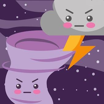 Nuvem de trovão kawaii e twister tempo dos desenhos animados