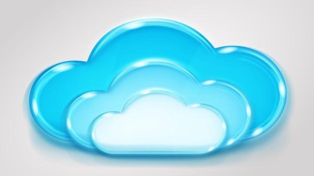 Nuvem de várias camadas de vidro em cores azuis claras