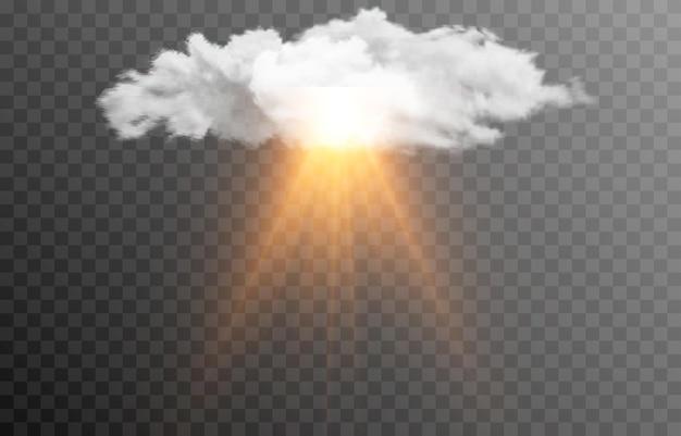 Nuvem de vetor com o sol raios de luz do amanhecer do amanhecer do sol nevoeiro de fumaça de nuvem png